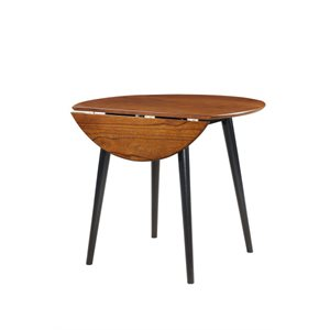 ROUND DROP LEAF TABLE CHERRY / BLACK