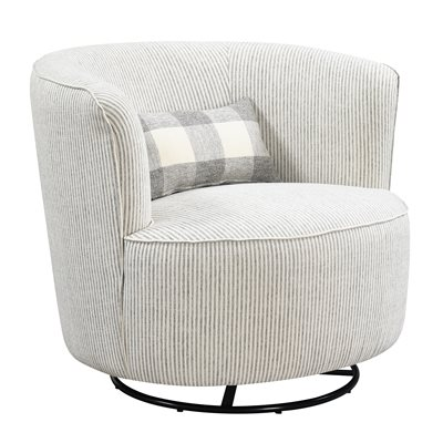 SWIVEL GLIDER ROCKER W / 1 KIDNEY PILLOW-GREY STRIPE