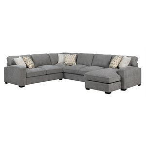 REPOSE-3PC SECTIONAL-W / 6-PILLOWS-LIGHT GREY