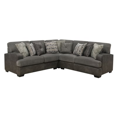 BERLIN-3PC SECTIONAL-LSF LOVE-CORNER CHAIR-RSF LOVE W / 6 PILLOWS-GREY