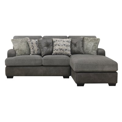 BERLIN-2PC SECTIONAL-LSF LOVE-RSF CHAISE W / 6 PILLOWS-GREY
