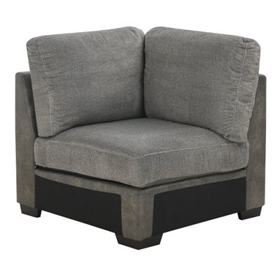 CORNER CHAIR W / 3 PILLOWS-GREY
