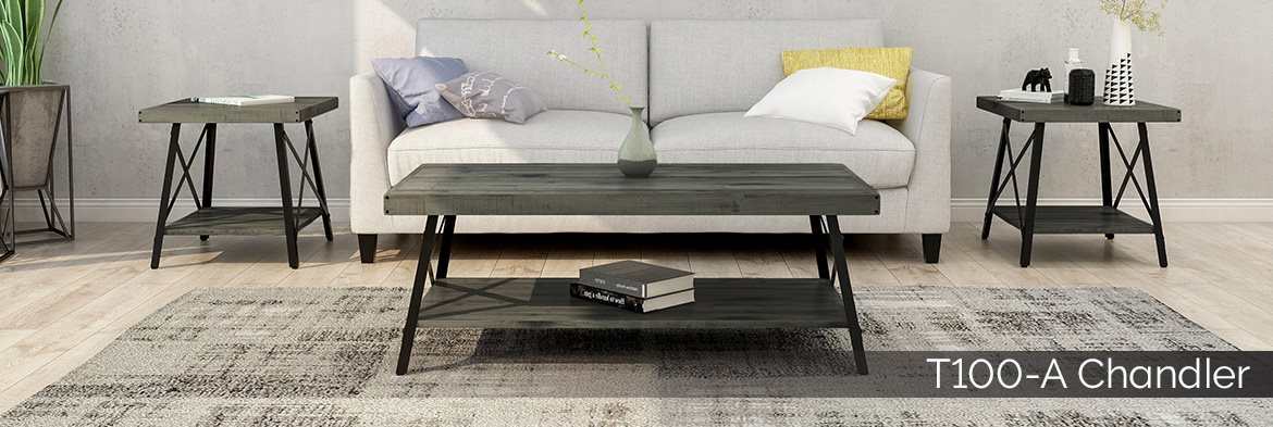 T100-A Chandler light gray coffee and end table occasional collection