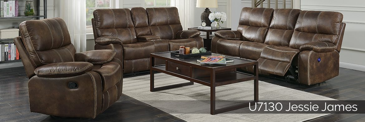 U7130 Jessie James Brown power reclining sofa, loveseat, and recliner